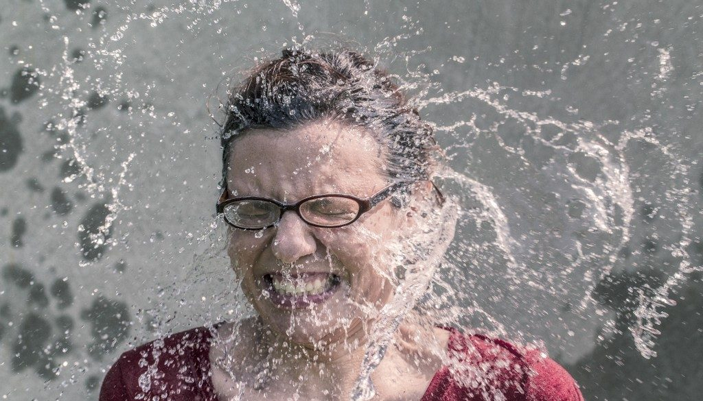 woman splash face
